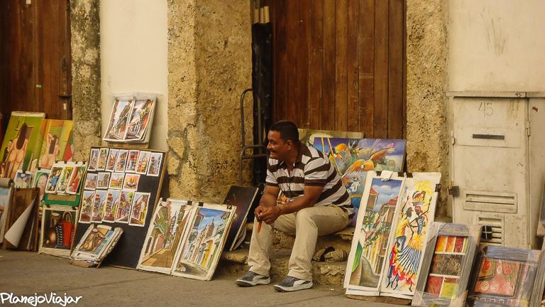 Vendedor de Quadros no Centro Histórico de Cartagena